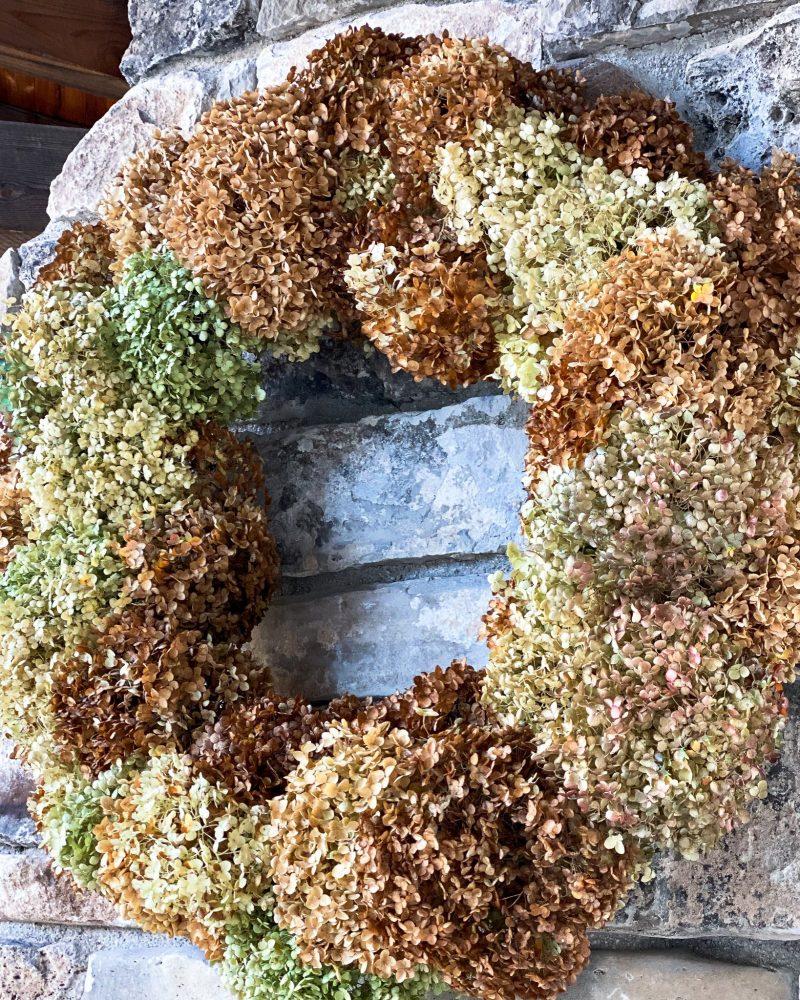 large dried hydrangea wreath hanging on mantel - J Dub By Design™