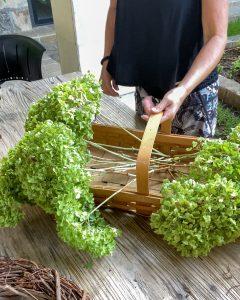 hydrangea blooms in basket - J Dub By Design™