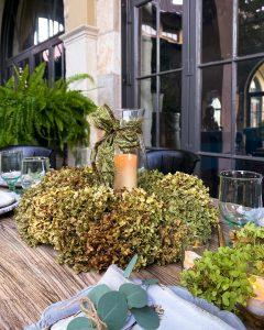 Fall tablescape with DIY dried hydrangea wreath centerpiece - J Dub By Design™