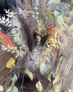 Dried florals in wood stump remnants for a table-scape - J Dub By Design™