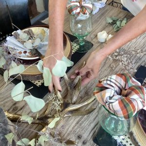 using metal deer antlers down the sides of the tablescape - J Dub By Design™